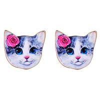 Zinc Alloy Stud Earring, stainless steel post pin, Cat, gold color plated, enamel & decal, lead & cadmium free, 10mm, Sold By Pair