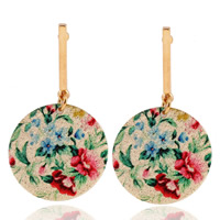 Zinc Alloy Drop Earring, stainless steel post pin, Flat Round, gold color plated, enamel, lead & cadmium free, 20mm, Sold By Pair