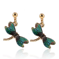 Zinc Alloy Drop Earring, stainless steel post pin, Dragonfly, gold color plated, enamel & decal, lead & cadmium free, 20mm, Sold By Pair