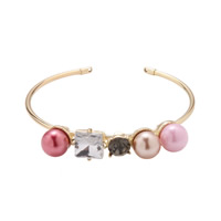 Zinc Alloy Cuff Bangle with Crystal   Glass Pearl gold color plated for woman   faceted nickel lead   cadmium free Inner Diameter:Approx 65mm Length:Approx 8 Inch 3PCs/Lot