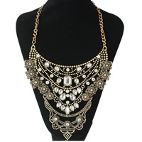 Crystal Zinc Alloy Necklace, with Crystal, antique gold color plated, twist oval chain & for woman & faceted & with rhinestone, nickel, lead & cadmium free, Sold Per Approx 20 Inch Strand