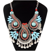 Fashion Statement Necklace, Zinc Alloy, with Turquoise & Resin, antique silver color plated, Bohemian style & twist oval chain & for woman & faceted, nickel, lead & cadmium free, Sold Per Approx 17 Inch Strand