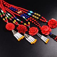Киноварь Ожерелье, Форма цветка, разные стили для выбора & Женский, 6mm, Продан через Приблизительно 17-21 дюймовый Strand
