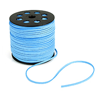 Velveteen Cord, with plastic spool, blue, 2.5mm, Approx 100Yard/Lot, Sold By Lot