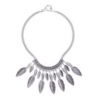 Готический ожерелье, цинковый сплав, с 8cm наполнитель цепи, Листок, плакированный цветом под старое серебро, твист овал, не содержит свинец и кадмий, 120x75mm, Продан через Приблизительно 13 дюймовый Strand