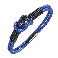 Unisex Bracelet, PU, with Stainless Steel, black ionic, 2-strand, blue, 18mm, 4mm, 18x8x8mm, Length:Approx 8.5 Inch, 5Strands/Lot, Sold By Lot