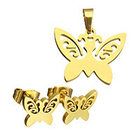 Fashion Stainless Steel Jewelry Sets, pendant & earring, Butterfly, gold color plated, hollow, 20x14x1.5mm, 10x7x12.5mm, Hole:Approx 3x5mm, Sold By Set