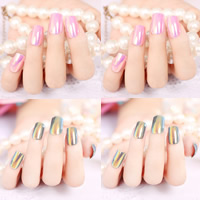 Nail Decal, Plastic, with Nail Glue, colorful plated, more colors for choice, 10-15mm, 3Sets/Bag, 24PCs/Set, Sold By Bag