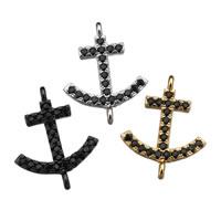 Cubic Zirconia Micro Pave Brass Connector Anchor plated micro pave cubic zirconia   1/1 loop nickel lead   cadmium free 14x17x2mm Hole:Approx 1mm 20PCs/Lot