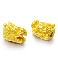 24K золото бисера, настоящие золото, Дракон, 9x13mm, отверстие:Приблизительно 1-2mm, продается PC