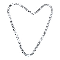 Stainless Steel Chain Necklace, curb chain, original color, 9x6x1.50mm, Sold Per Approx 19.5 Inch Strand