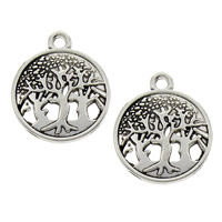 Zinc Alloy Pendants, Tree, antique silver color plated, lead & cadmium free, 16x19x1.50mm, Hole:Approx 1.5mm, 100PCs/Bag, Sold By Bag
