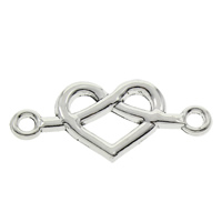 Heart Zinc Alloy Connector, antique silver color plated, 1/1 loop, lead & cadmium free, 32x14x2mm, Hole:Approx 2mm, 100PCs/Bag, Sold By Bag