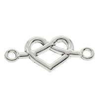 Connettore in lega di zinco cuore, lega in zinco, placcato argento antico, 1/1 anello del connettore, assenza di piombo & cadmio, 32x14x2mm, Foro:Appross. 2mm, 100PC/borsa, Venduto da borsa