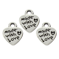 Zinc Alloy Heart Pendants, word made with love, antique silver color plated, with letter pattern, lead & cadmium free, 9x12x1.50mm, Hole:Approx 1mm, 100PCs/Bag, Sold By Bag