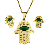 Fashion Stainless Steel Jewelry Sets, earring & necklace, with Green Agate, Hamsa, gold color plated, natural & oval chain & with rhinestone, 25.5x34.5x5mm, 2.5x2x0.5m, 15x18x15.5mm, Length:Approx 18 Inch, 10Sets/Lot, Sold By Lot