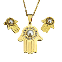 Fashion Stainless Steel Jewelry Sets, earring & necklace, with Glass Pearl, Hamsa, gold color plated, oval chain & with rhinestone, 25.5x34x5.5mm, 2.5x2x0.5mm, 15x18.5x16mm, Length:Approx 18 Inch, 10Sets/Lot, Sold By Lot