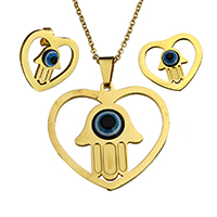 Evil Eye Jewelry Set, earring & necklace, Stainless Steel, with Resin, Heart, gold color plated, evil eye pattern & oval chain, 38.5x36x5mm, 2.5x2x0.5mm, 23x20.5x16mm, Length:Approx 18 Inch, 10Sets/Lot, Sold By Lot