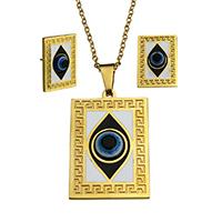 Evil Eye Sieraden Set, oorbel & halsketting, Roestvrij staal, met Hars, Rechthoek, gold plated, boze oog patroon & ovale keten & glazuur, 25x37.5x5mm, 2.5x2x0.5mm, 15x20.5x16mm, Lengte:Ca 17.5 inch, 10sets/Lot, Verkocht door Lot
