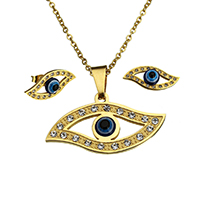 Evil Eye Jewelry Set, earring & necklace, Stainless Steel, with Resin, gold color plated, oval chain & with rhinestone, 37x19x5mm, 2.5x2x0.5mm, 22.5x9.5x7mm, Length:Approx 18 Inch, 10Sets/Lot, Sold By Lot