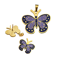 Fashion Stainless Steel Jewelry Sets, pendant & earring, Butterfly, gold color plated, enamel, 34x30x2mm, 20.5x18x12mm, Hole:Approx 3.5x7.5mm, 10Sets/Lot, Sold By Lot