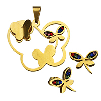 Rhinestone Jewelry Sets, pendant & earring, Stainless Steel, with Rhinestone Clay Pave, Butterfly, gold color plated, 37.5x32.5x6.5mm, 13.5x14.5x15mm, Hole:Approx 4.7x9.5mm, 10Sets/Lot, Sold By Lot