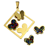 Rhinestone Jewelry Sets, pendant & earring, Stainless Steel, with Rhinestone Clay Pave, Butterfly, gold color plated, 45.5x50x6mm, 13.5x10.5x14.5mm, Hole:Approx 4.4x9.1mm, 10Sets/Lot, Sold By Lot