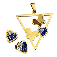 Rhinestone Jewelry Sets, pendant & earring, Stainless Steel, with Rhinestone Clay Pave, Heart, gold color plated, 39x43x8mm, 10.5x11x14.5mm, Hole:Approx 4.7x9.6mm, 10Sets/Lot, Sold By Lot