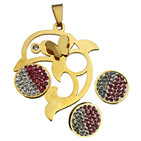 Rhinestone Jewelry Sets, pendant & earring, Stainless Steel, with Rhinestone Clay Pave, Dolphin, gold color plated, 34.5x45x5.5mm, 15x15x15mm, Hole:Approx 4.5x9.4mm, 10Sets/Lot, Sold By Lot