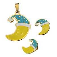 Fashion Stainless Steel Jewelry Sets, pendant & earring, Moon, gold color plated, enamel, 22x28.5x2mm, 17x20.5x12mm, Hole:Approx 3.2x7.6mm, 10Sets/Lot, Sold By Lot