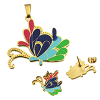 Fashion Stainless Steel Jewelry Sets, pendant & earring, Butterfly, gold color plated, enamel, 37x32x2mm, 21.5x16.5x12mm, Hole:Approx 3.7x7.9mm, 10Sets/Lot, Sold By Lot
