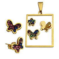 Fashion Stainless Steel Jewelry Sets, pendant & earring, with Rhinestone Clay Pave, Butterfly, gold color plated, 25.5x35.5x5mm, 14.5x8.5x14mm, Hole:Approx 4.8x9.2mm, 10Sets/Lot, Sold By Lot