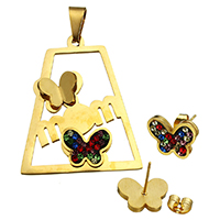 Fashion Stainless Steel Jewelry Sets, pendant & earring, with Rhinestone Clay Pave, Butterfly, gold color plated, Mother Day Jewelry, 32.5x40x5mm, 13.5x10.5x14.5mm, Hole:Approx 4.7x9.3mm, 10Sets/Lot, Sold By Lot