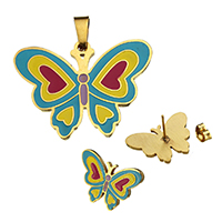 Fashion Stainless Steel Jewelry Sets, pendant & earring, Butterfly, gold color plated, enamel, 34x24.5x2mm, 21.5x15x12.5mm, Hole:Approx 3.6x7.1mm, 10Sets/Lot, Sold By Lot