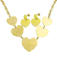 Fashion Stainless Steel Jewelry Sets, earring & necklace, Heart, gold color plated, oval chain, 37x34x1mm, 32x30x1mm, 8x6x2mm, 21x21x1mm, 32mm, Length:Approx 20 Inch, 10Sets/Lot, Sold By Lot