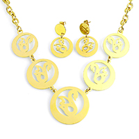 Fashion Stainless Steel Jewelry Sets, earring & necklace, Swan, gold color plated, oval chain, 35x35x1mm, 29x36x1mm, 8x6x1mm, 21x21x1mm, 33mm, Length:Approx 19 Inch, 10Sets/Lot, Sold By Lot