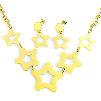 Fashion Stainless Steel Jewelry Sets, earring & necklace, Star, gold color plated, oval chain, 38x34x1mm, 28x30x1mm, 8x6x1mm, 21x20x1mm, 33mm, Length:Approx 20 Inch, 10Sets/Lot, Sold By Lot