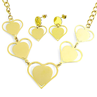 Fashion Stainless Steel Jewelry Sets, earring & necklace, Heart, gold color plated, oval chain, 38x30x1mm, 30x31x1mm, 9x6x1mm, 22x19x1mm, 31mm, Length:Approx 19 Inch, 10Sets/Lot, Sold By Lot