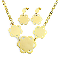 Fashion Stainless Steel Jewelry Sets, earring & necklace, Flower, gold color plated, oval chain, 35x33x1mm, 24x33x1mm, 6x2mm, 22x20x1mm, 34mm, Length:Approx 18 Inch, 10Sets/Lot, Sold By Lot