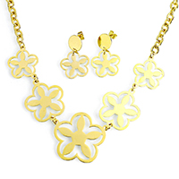 Fashion Stainless Steel Jewelry Sets, earring & necklace, Flower, gold color plated, oval chain, 38x34x1mm, 28x33x1mm, 8x6x1mm, 21x21x1mm, 32mm, Length:Approx 20 Inch, 10Sets/Lot, Sold By Lot