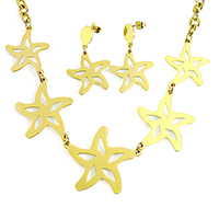 Fashion Stainless Steel Jewelry Sets, earring & necklace, Starfish, gold color plated, oval chain, 41x34x1mm, 31x38x1mm, 8x6x1mm, 25x23x1mm, 37mm, Length:Approx 19 Inch, 10Sets/Lot, Sold By Lot