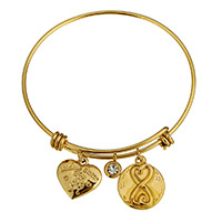 Stainless Steel Bangle gold color plated charm bracelet   with letter pattern   for woman   with rhinestone 17x16x4mm 6x8x4mm 17x20x3mm 2mm Inner Diameter:Approx 62mm Length:Approx 8 Inch 10PCs/Lot