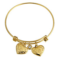 Stainless Steel Bangle Name Nana gold color plated charm bracelet   for woman   with rhinestone 17x16x3mm 8x9x3mm 17x16x3mm 2mm Inner Diameter:Approx 62mm Length:Approx 8 Inch 10PCs/Lot