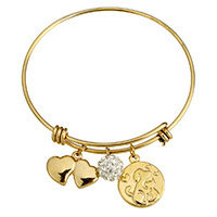 Stainless Steel Bangle with Rhinestone Clay Pave Bead gold color plated charm bracelet   for woman 29x14x4mm 10mm 17x20x3mm 2mm Inner Diameter:Approx 62mm Length:Approx 8 Inch 10PCs/Lot