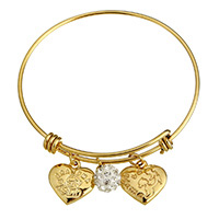 Stainless Steel Bangle with Rhinestone Clay Pave Bead gold color plated charm bracelet   with letter pattern   for woman 17x17x3mm 10mm 17x17x3mm 2mm Inner Diameter:Approx 62mm Length:Approx 8 Inch 10PCs/Lot