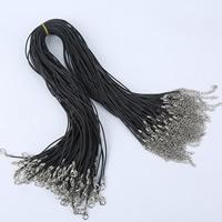 Шнуры для ожерелий, Силикон, цинковый сплав Замок-карабин, с 5cm наполнитель цепи, Платиновое покрытие платиновым цвет, черный, 400mm, длина:Приблизительно 16.5 дюймовый, 100пряди/сумка, продается сумка