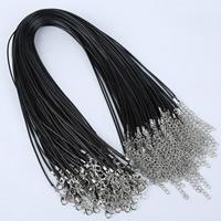 Шнуры для ожерелий, Вощеная Конопля шнура, цинковый сплав Замок-карабин, с 5cm наполнитель цепи, Платиновое покрытие платиновым цвет, черный, 1.5mm, длина:Приблизительно 16.5 дюймовый, 100пряди/сумка, продается сумка