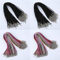 Шнуры для ожерелий, шерстяной шнур, цинковый сплав Замок-карабин, с 5cm наполнитель цепи, Платиновое покрытие платиновым цвет, Много цветов для выбора, 3mm, длина:Приблизительно 16.5 дюймовый, 100пряди/сумка, продается сумка