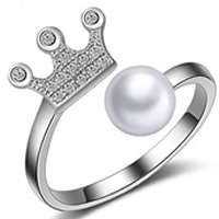 Cubic Zirconia Micro Pave Brass Ring, with ABS Plastic Pearl, Crown, real silver plated, with 925 logo & micro pave cubic zirconia & for woman, lead & cadmium free, 17mm, US Ring Size:6.5, Sold By PC