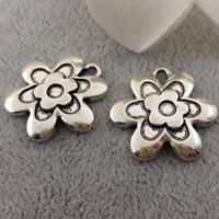 Zinc Alloy Flower Pendants, antique silver color plated, lead & cadmium free, 22mm, Hole:Approx 2mm, 50PCs/Bag, Sold By Bag